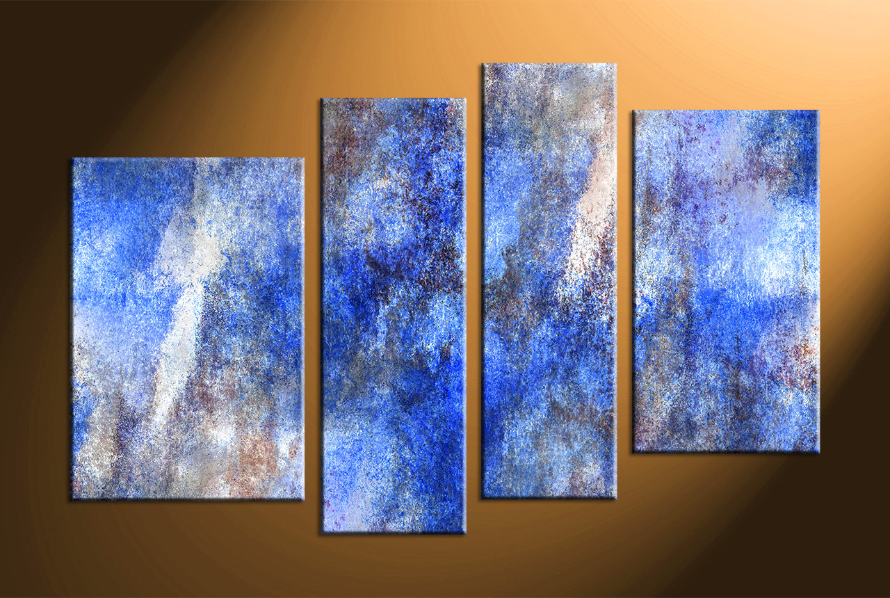 4 piece abstract blue large canvas for Blue paintings on canvas