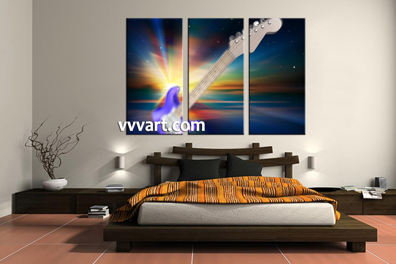 3 piece colorful canvas guitar music artwork
