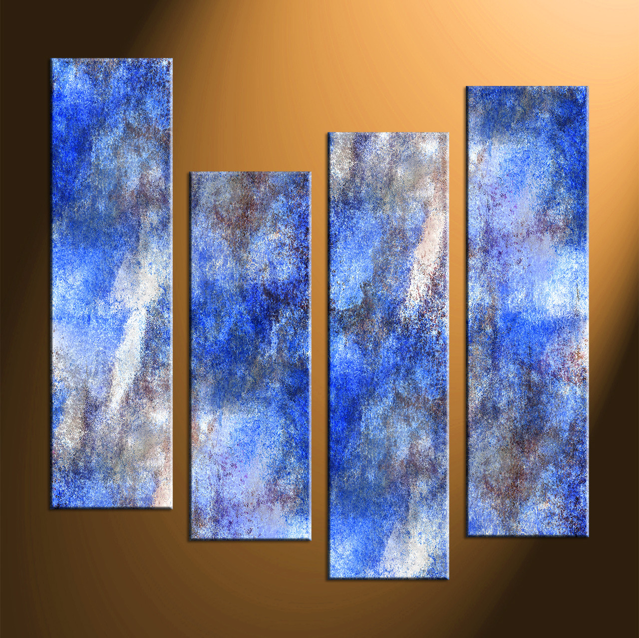 4 piece abstract blue huge canvas art for Blue paintings on canvas