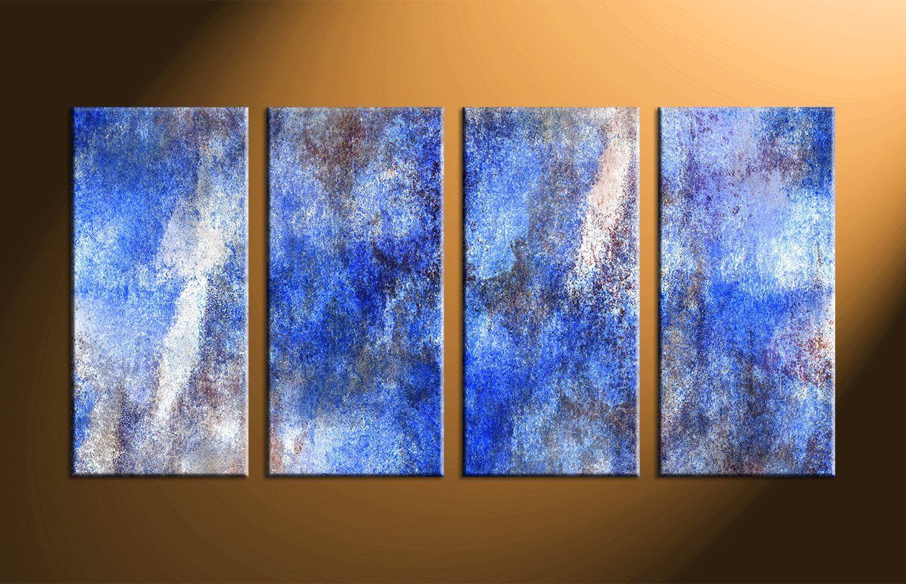 Blue Abstract Wall Decor : Piece canvas abstract blue wall decor