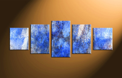 Blue Canvas Wall Art 5 piece canvas wall art, thunderstorm multi panel art, blue canvas
