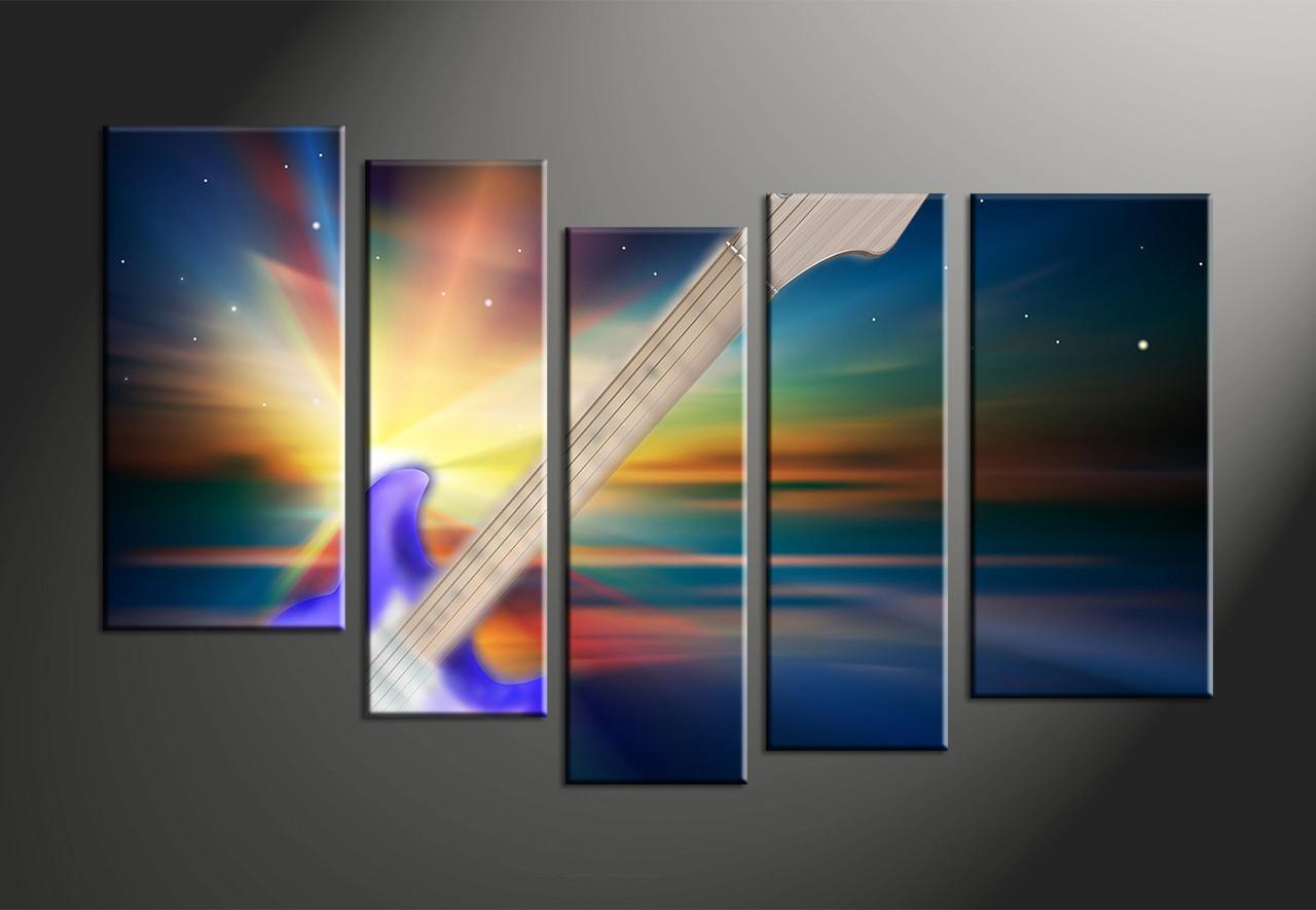 5 Piece Guitar Colorful Music Multi Panel Canvas