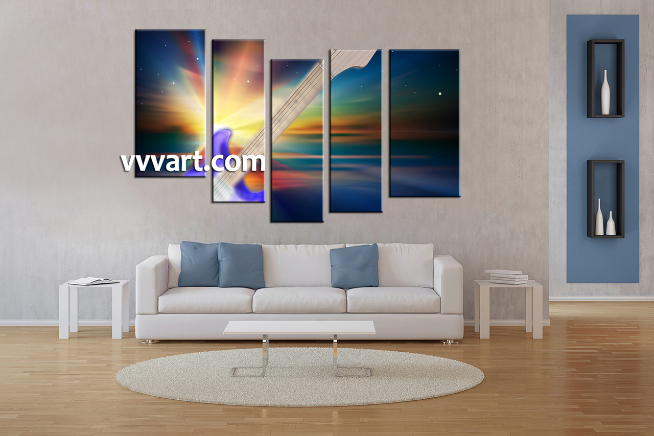 modern artwork for living room. living room art  5 piece canvas wall instrument photo modern artwork Piece Guitar Colorful Music Multi Panel Canvas