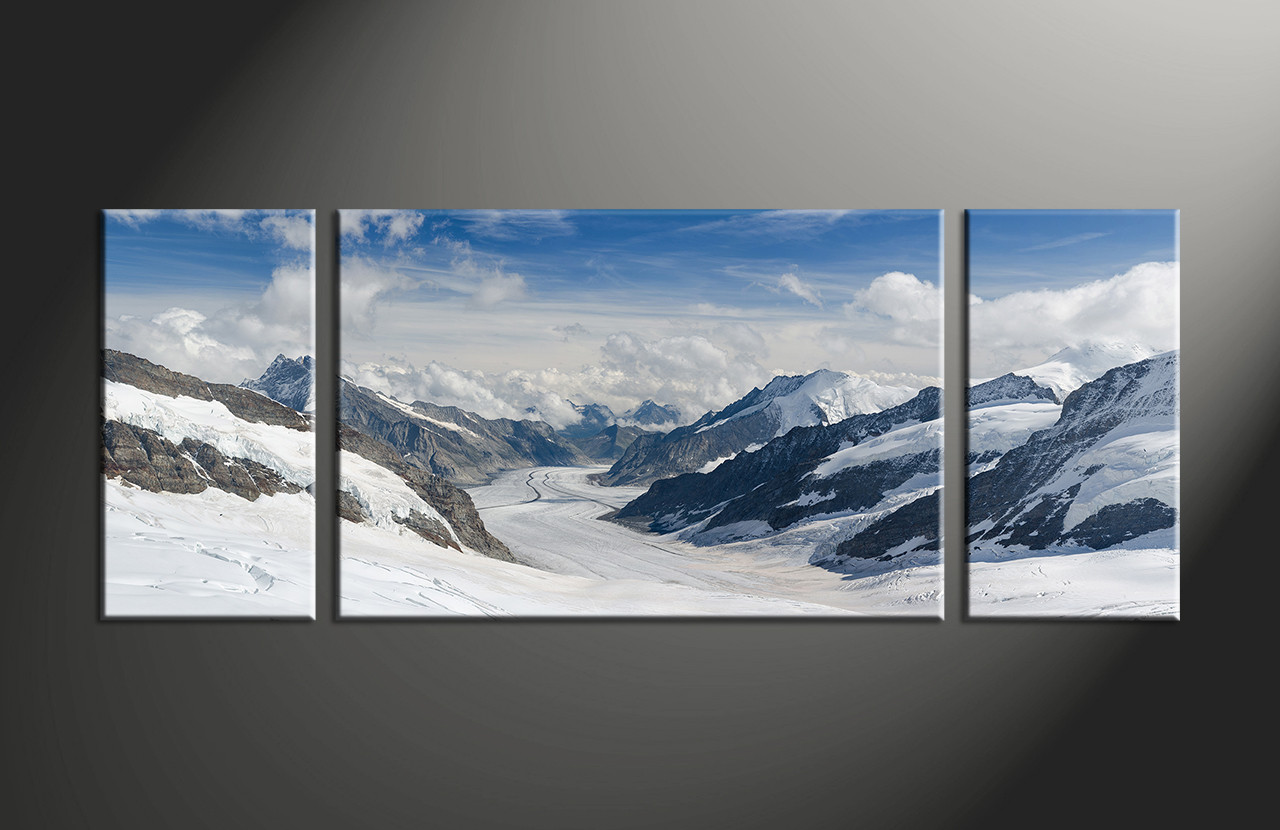 Multi Piece Canvas Wall Art 3 piece landscape snow white multi panel canvas