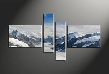 home decor, 4 piece canvas art prints, mountain canvas print, landscape canvas wall art, snow canvas print