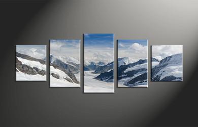 home decor, 5 piece multi panel art, mountain canvas print, landscape canvas wall art, snow photo canvas