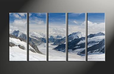 home decor art, 5 piece large canvas , landscape art, mountain wall art, snow pictures