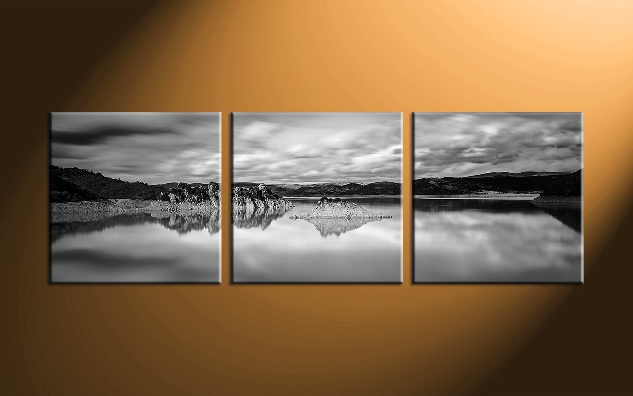 3 piece canvas ocean black and white huge pictures for White canvas painting