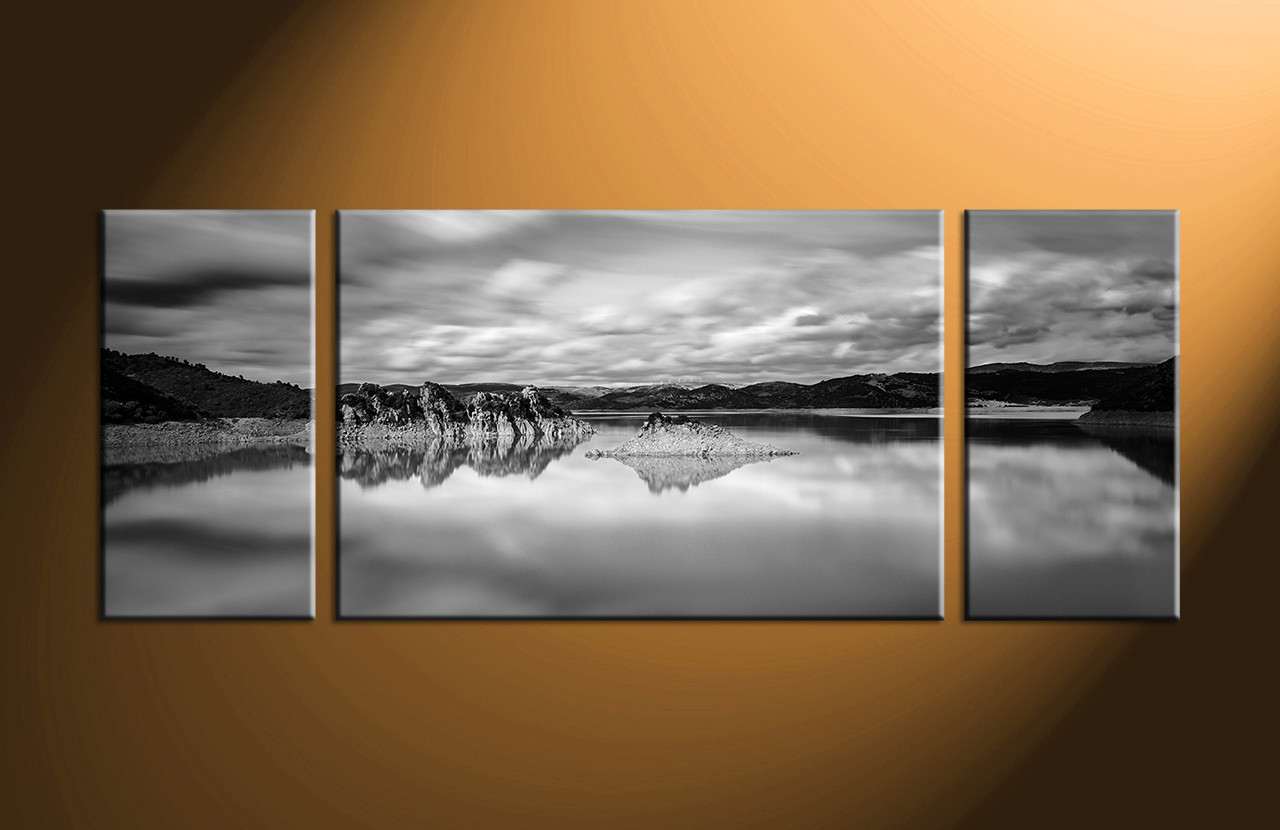 3 Piece Ocean Black And White Large Canvas