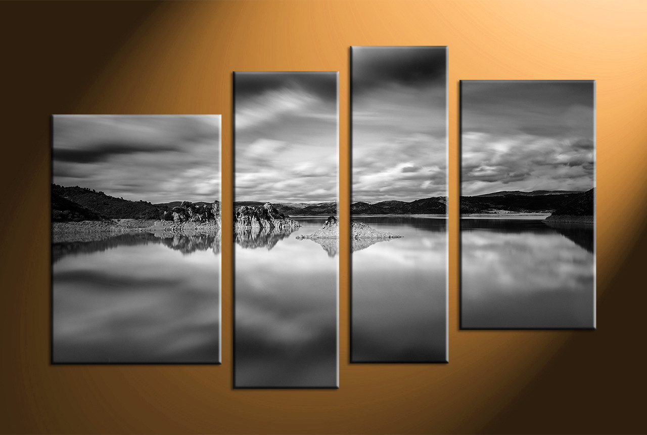 Home Decor, 4 Piece Canvas Art Prints, Landscape Canvas Wall Art, Black And