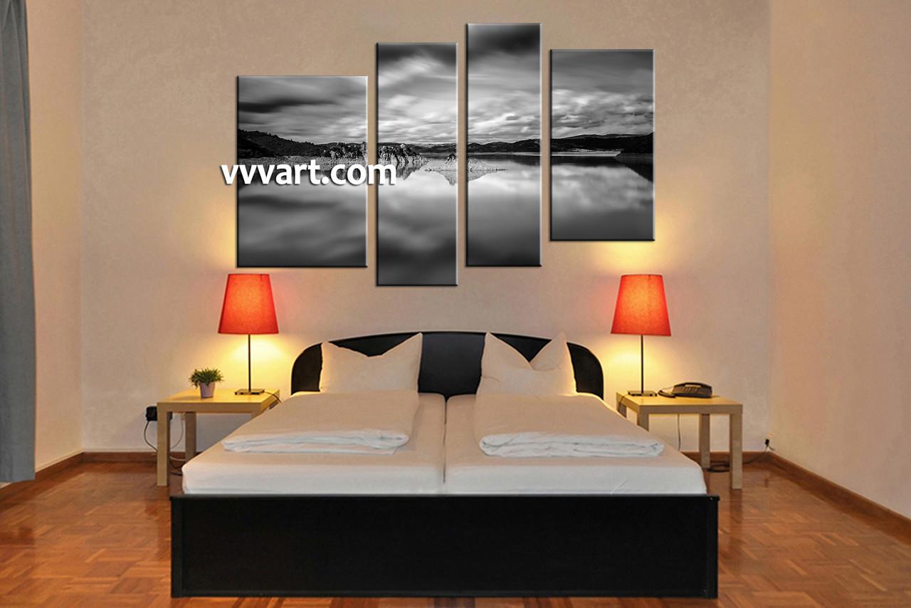 Bedroom Decor, 4 Piece Wall Art, Mountain Wall Art, Landscape Wall Décor,