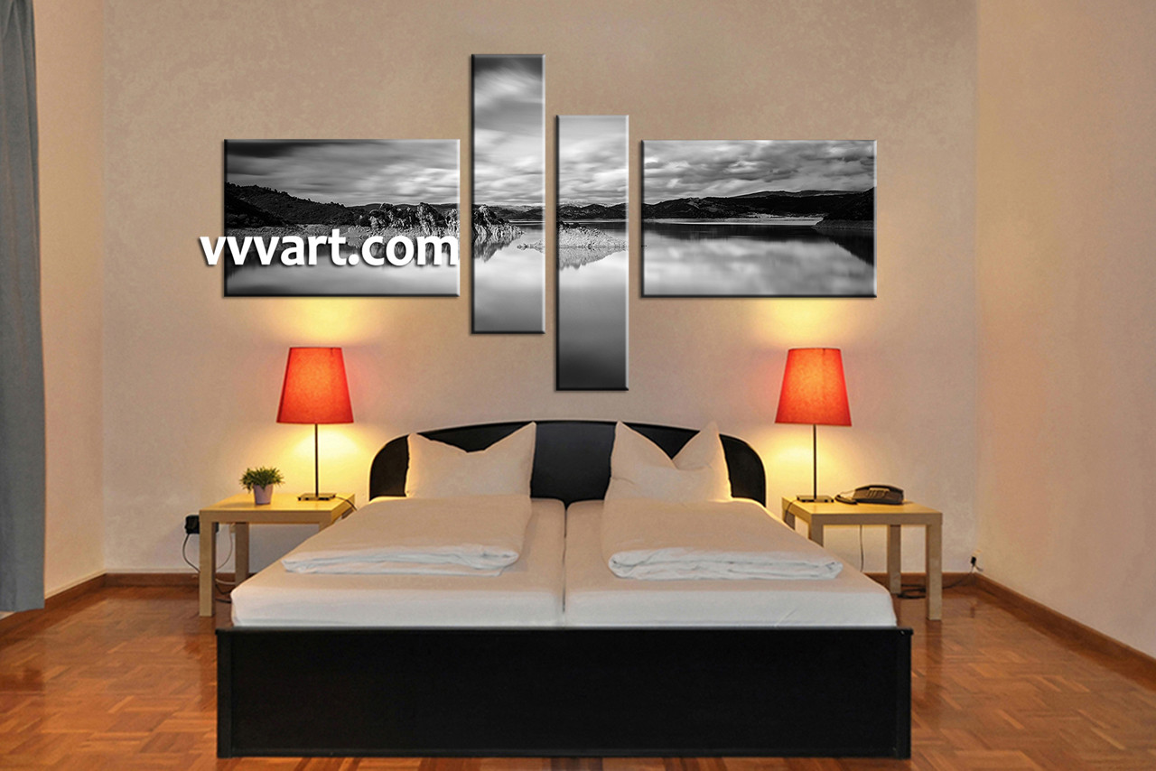 4 Piece Wall Art 4 piece ocean black and white canvas wall art
