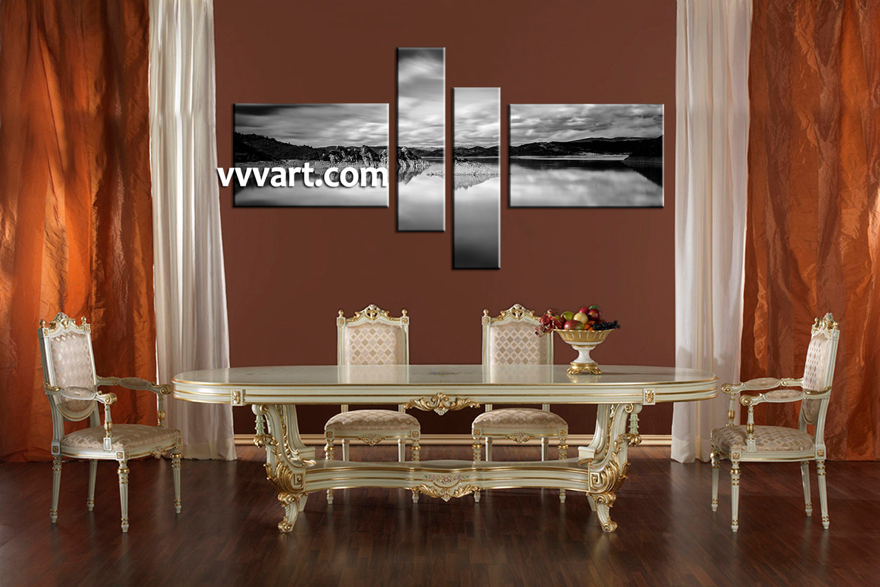 4 Piece Ocean Black And White Canvas Wall Art