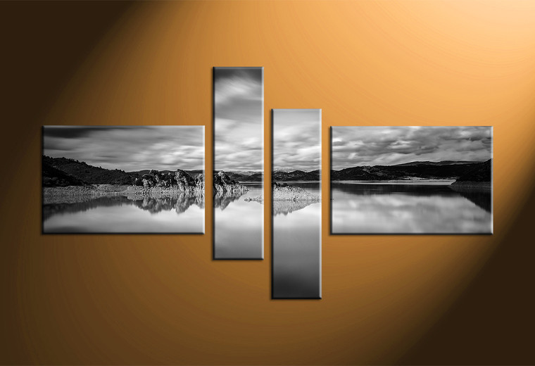 4 piece ocean black and white canvas wall art Black and white canvas art