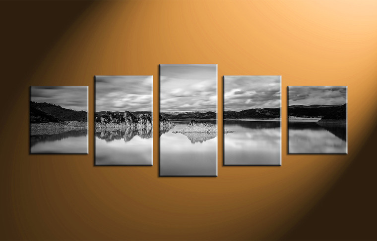 5 piece canvas mountain ocean black and white art Black and white canvas art