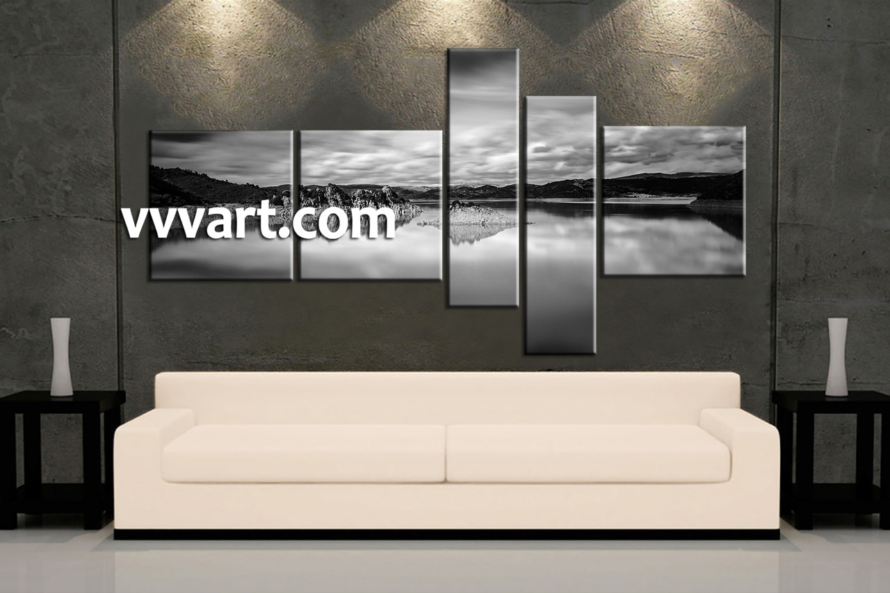 Black And White Canvas Wall Art 5 piece ocean black and white mountain photo canvas