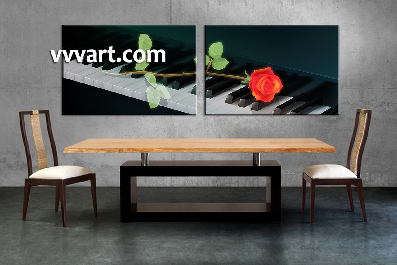 Dining Room Art 2 Piece Canvas Prints Rose Music Photo