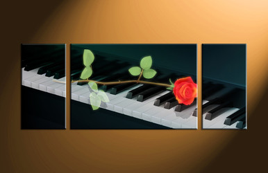 home decor, 3 piece canvas art prints, piano artwork, scenery large canvas, instrument wall decor