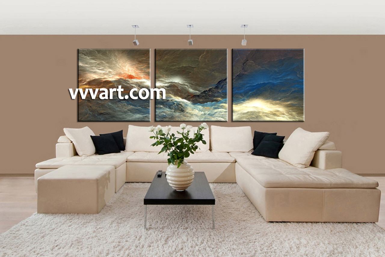 Living Room Artwork, 3 Piece Canvas Wall Art, Abstract Canvas Art Prints,  Abstract Part 71