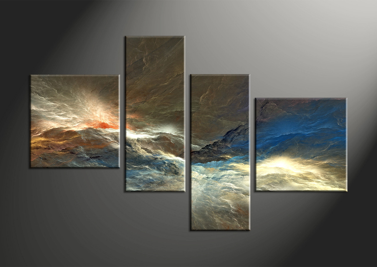 4 piece colorful abstract multi panel canvas for Blue and brown wall art