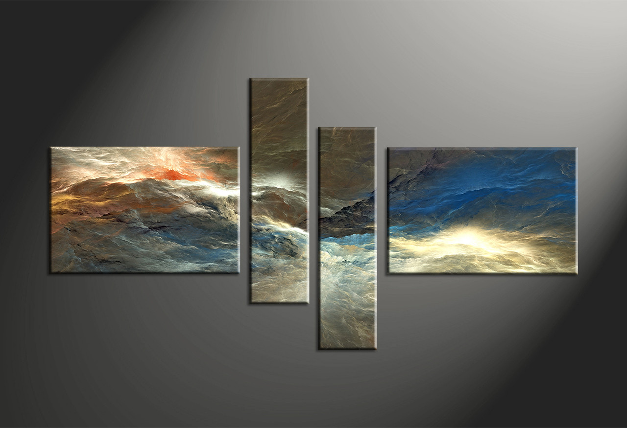 Attractive Home Wall Decor, 4 Piece Canvas Art Prints, Abstract Large Pictures,  Abstract Group