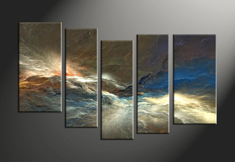 5 Piece Colorful Abstract Huge Canvas Art