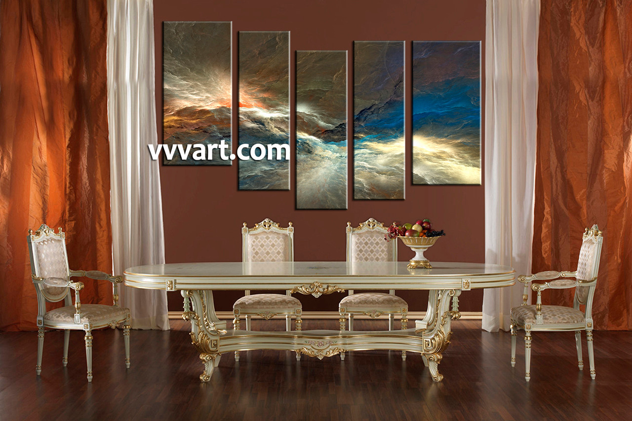5 piece colorful abstract huge canvas art dining room artwor