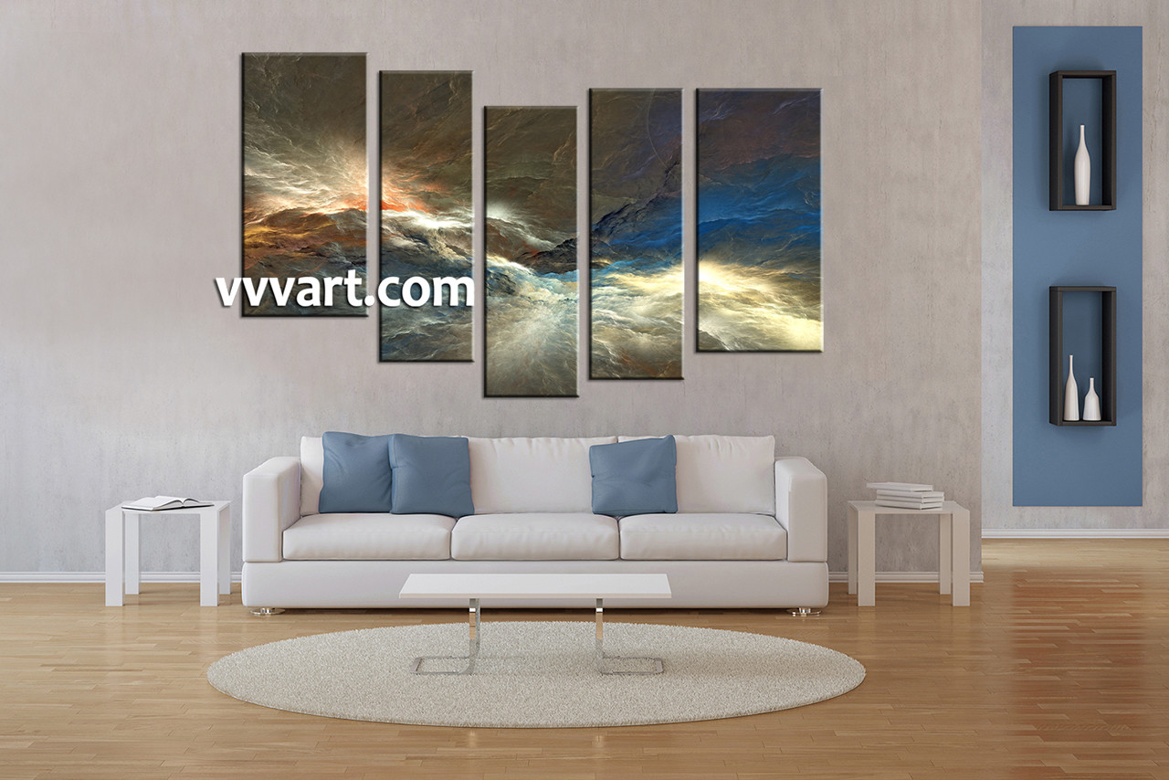Living Room Art, 5 Piece Canvas Art Prints, Abstract Canvas Print, Abstract  Photo