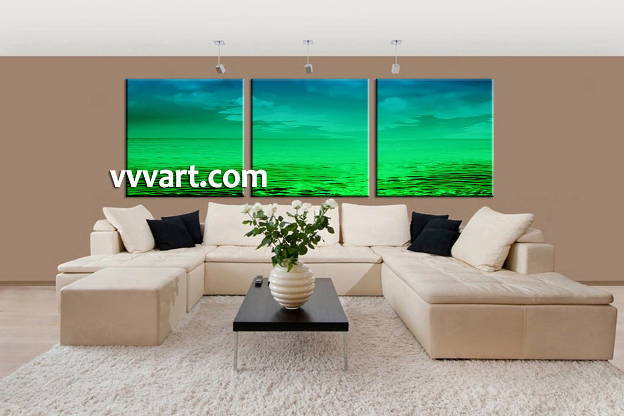 Beach Canvas Wall Art 3 piece canvas green ocean abstract artwork