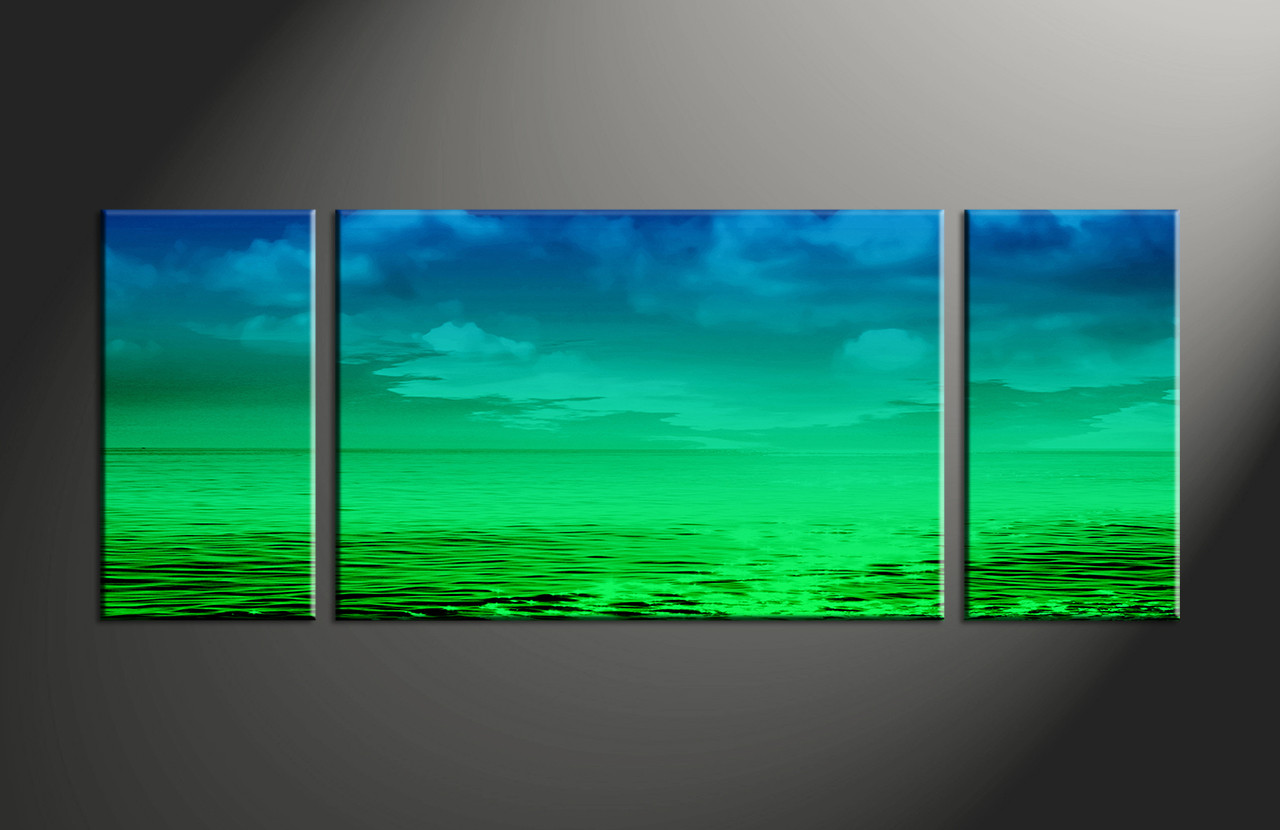 3 piece canvas ocean green abstract artwork for 3 piece paintings