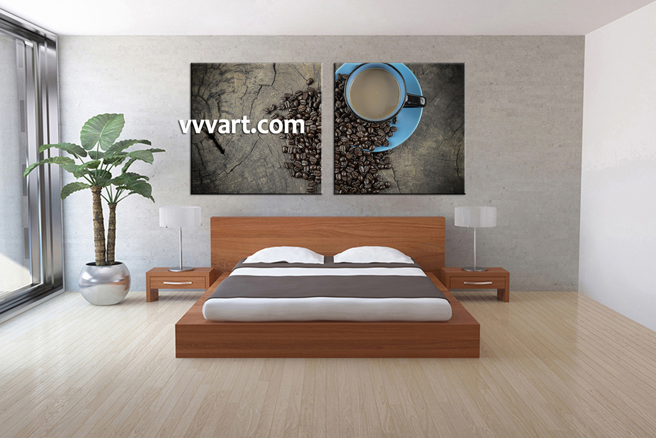 Coffee Wall Art 2 piece brown canvas kitchen coffee wall art