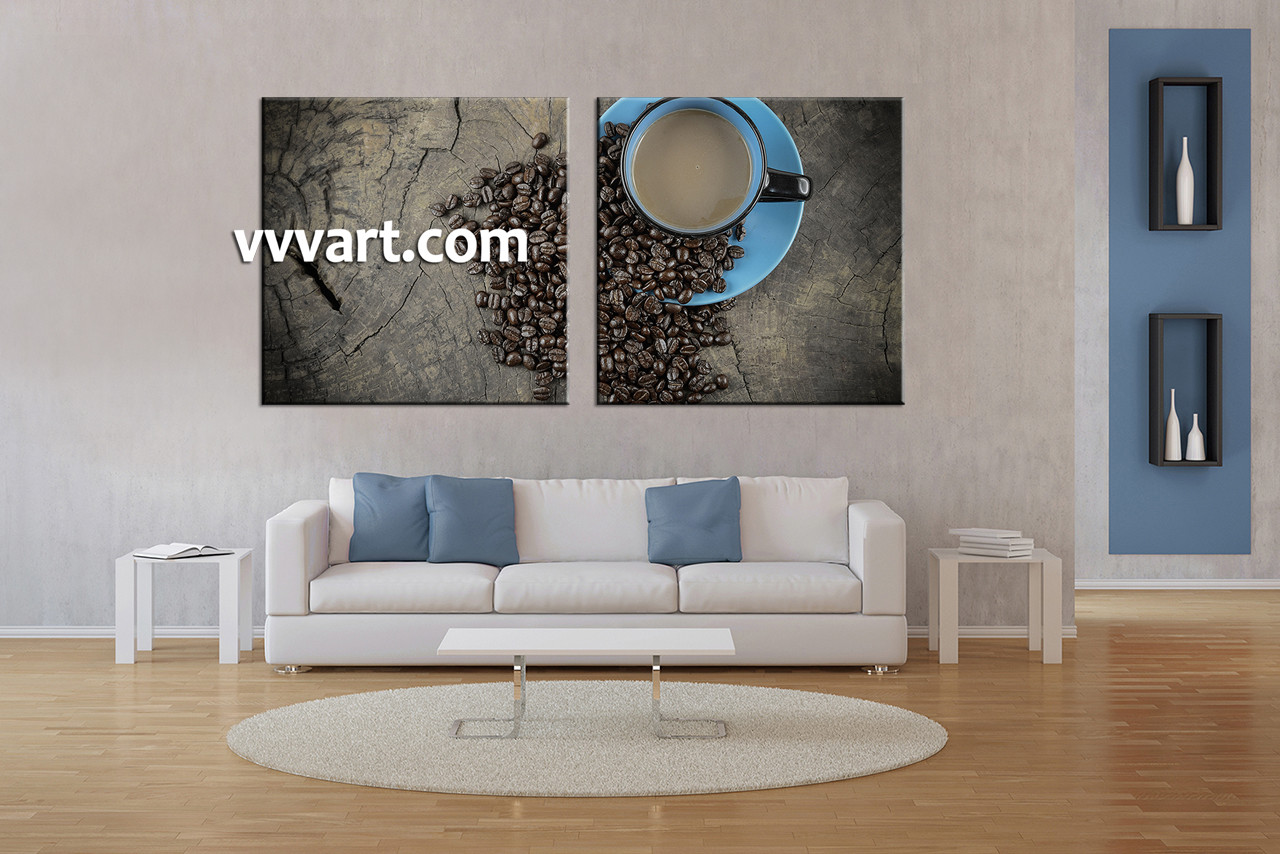 Living Room Art, 2 Piece Canvas Wall Art, Kitchen Multi Panel Canvas, Coffee