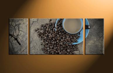 home decor, 3 piece canvas art prints, kitchen artwork, cup large canvas, coffee beans canvas art prints