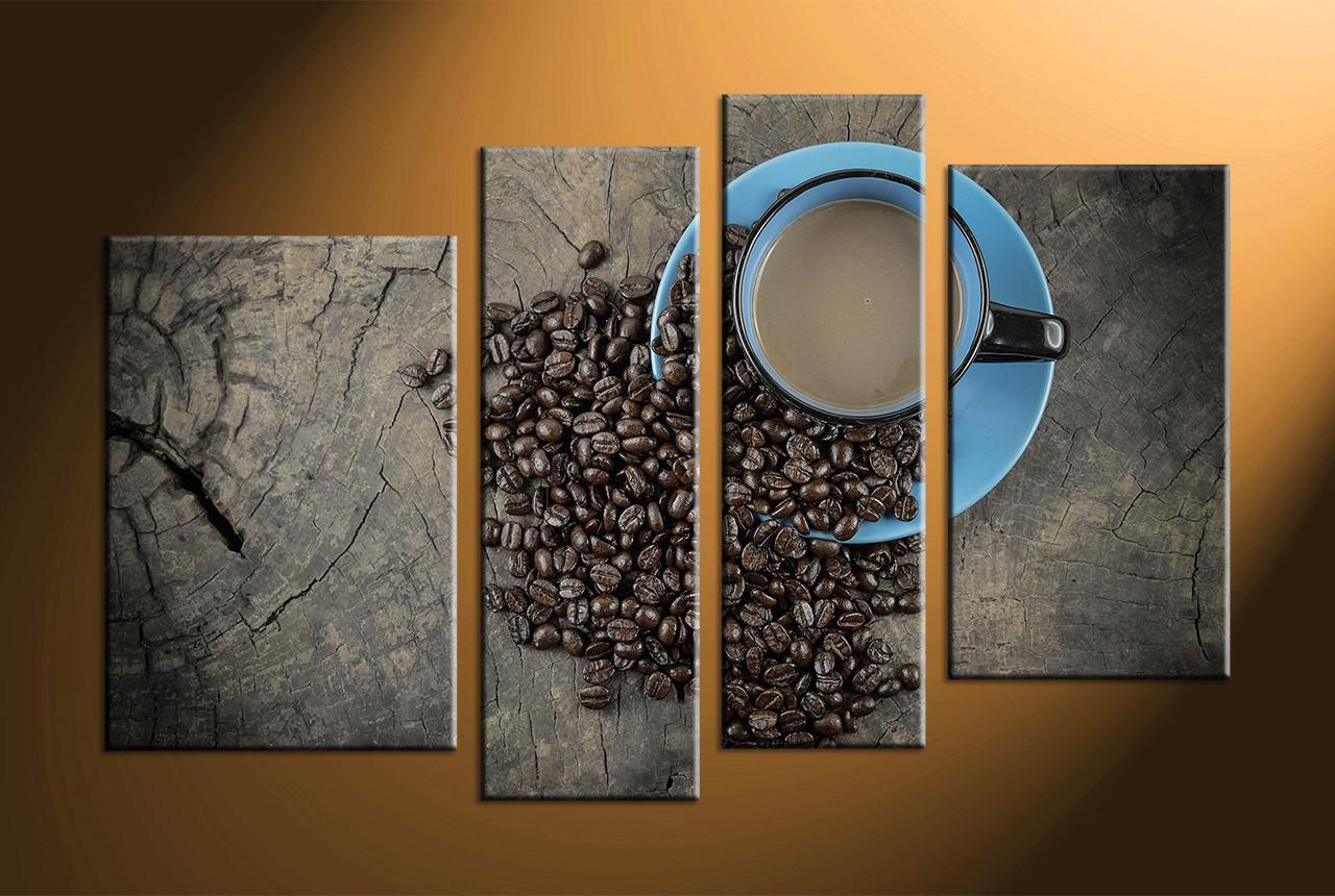 Kitchen Artwork 4 Piece Brown Canvas Coffee Kitchen Multi Panel Art