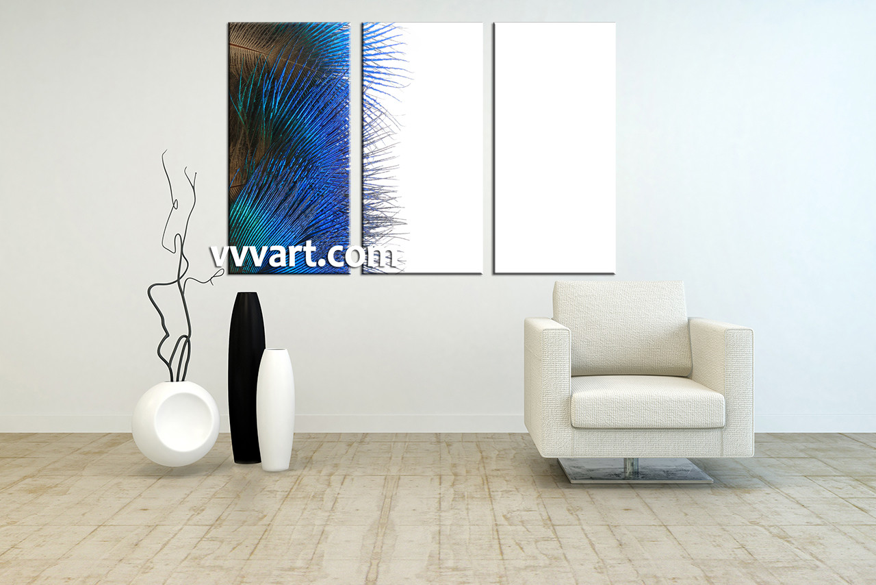 3 Piece Canvas Blue Feather Modern Artwork