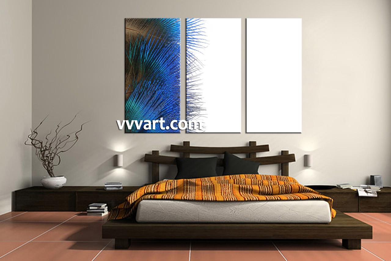 piece canvas blue feather modern artwork - dining room wall art  piece canvas art prints modern multi panel canvas