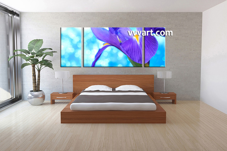 3 piece purple canvas lily floral multi panel art. Black Bedroom Furniture Sets. Home Design Ideas