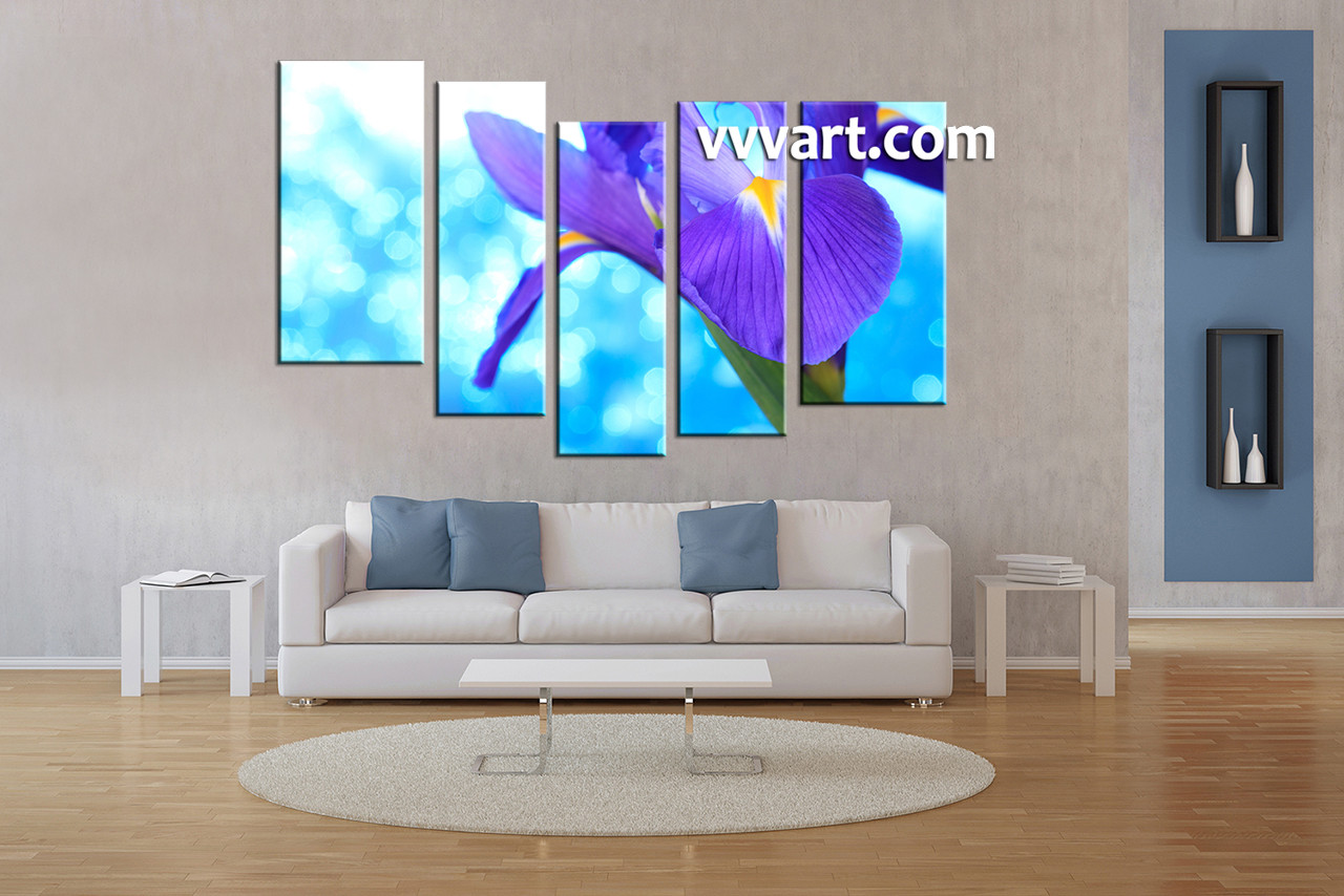 5 piece purple lily floral wall decor. Black Bedroom Furniture Sets. Home Design Ideas