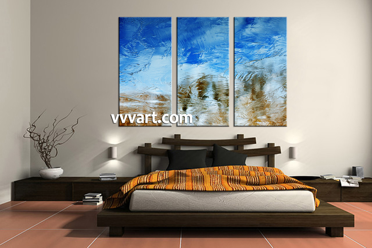piece abstract blue canvas wall art - bedroom decor  piece wall art abstract huge pictures abstract artabstract
