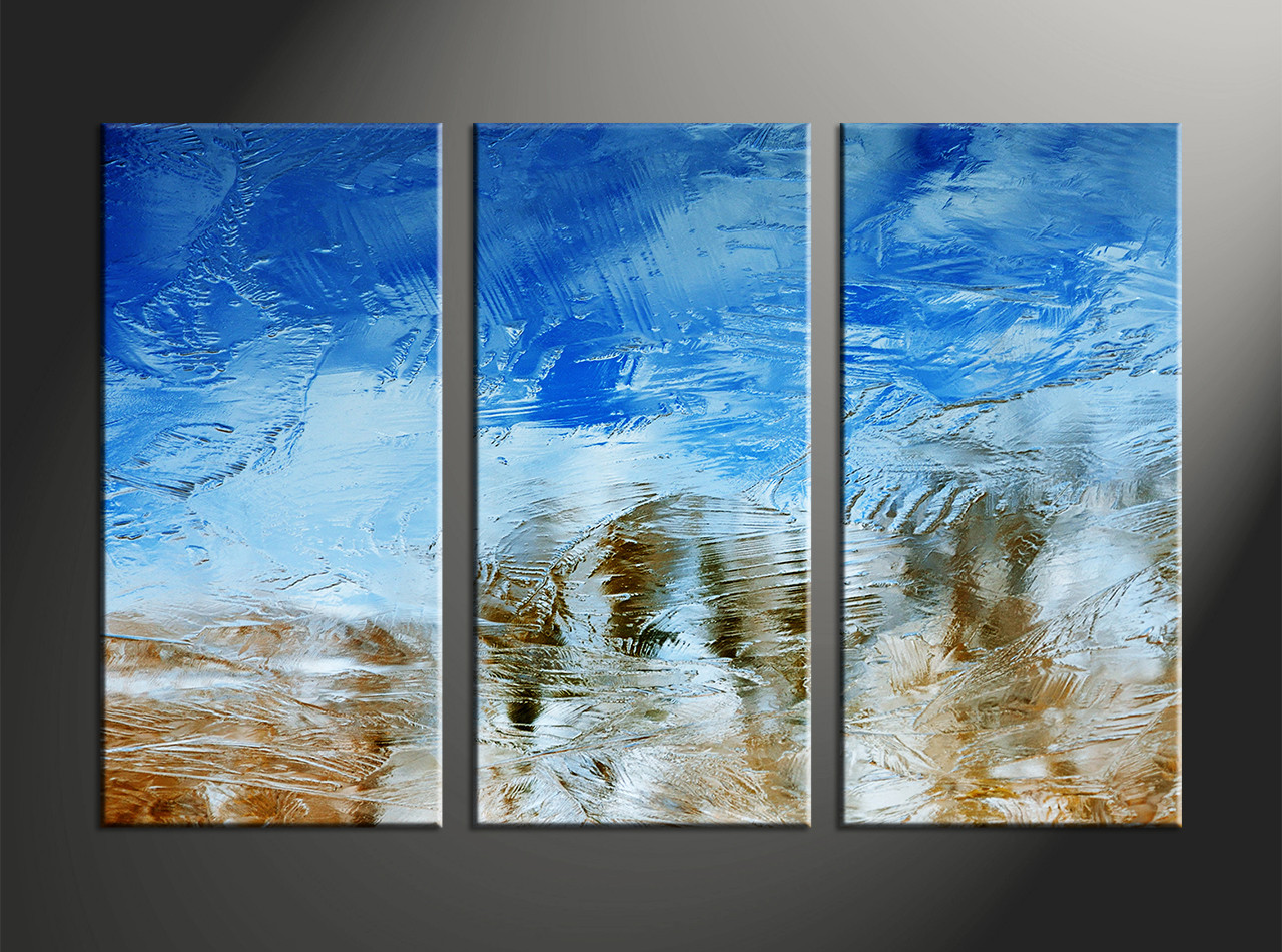 3 piece abstract blue canvas wall art for Blue wall art