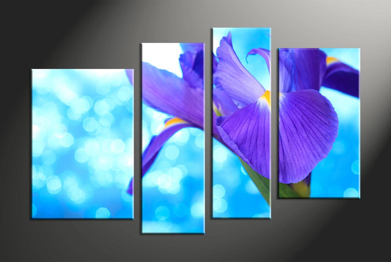 4 piece blue canvas purple lily multi panel art home decor 4 piece canvas art prints floral artwork flower large canvas izmirmasajfo