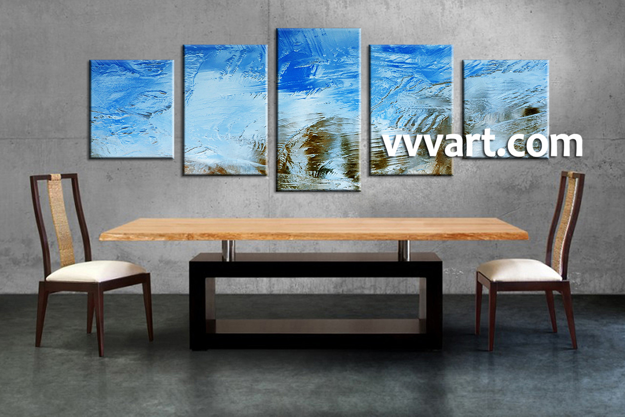 5 piece canvas blue abstract huge pictures for Dining room art prints