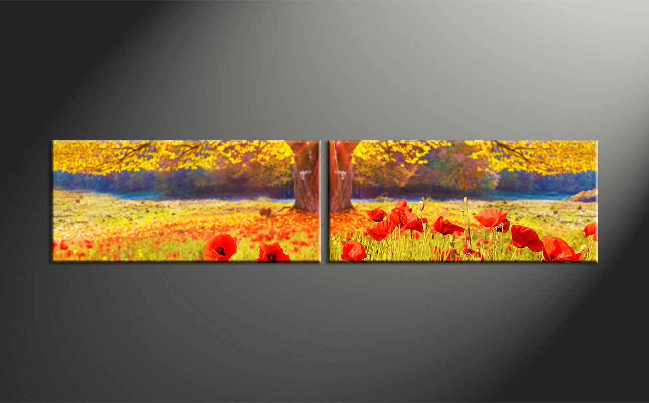 Flower Canvas Wall Art 2 piece yellow scenery red flowers canvas wall art