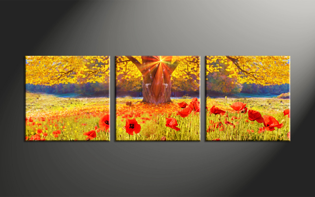 3 Piece Yellow Canvas Flowers Scenery Huge Pictures