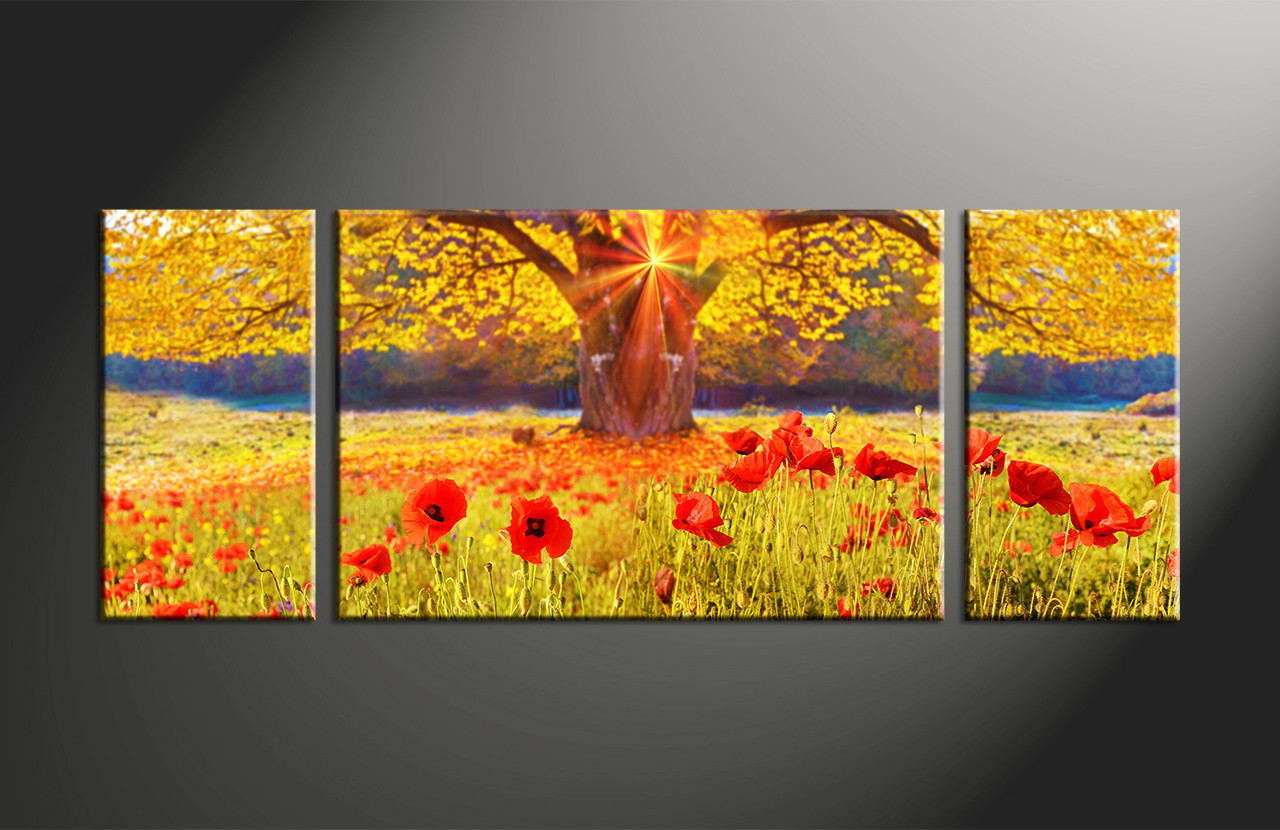 3 Piece Yellow Scenery Flowers Large Canvas