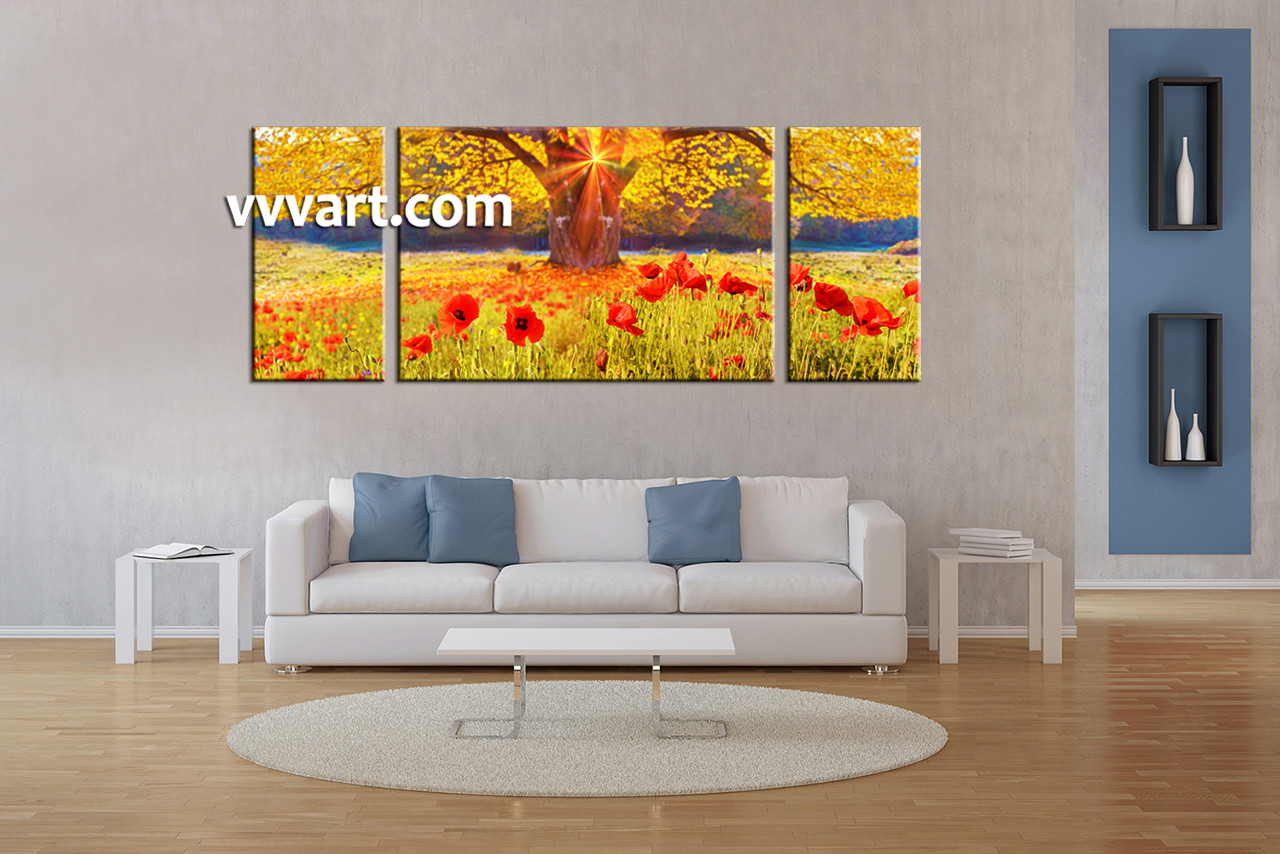 Living Room Art 3 Piece Canvas Wall Scenery Multi Panel Flower