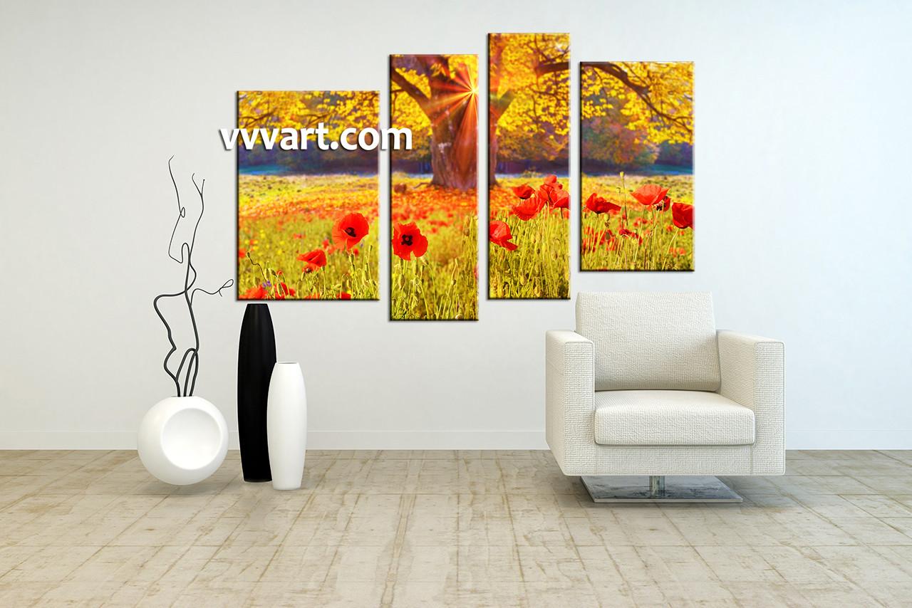 4 Piece Yellow Scenery Flowers Huge Canvas Art