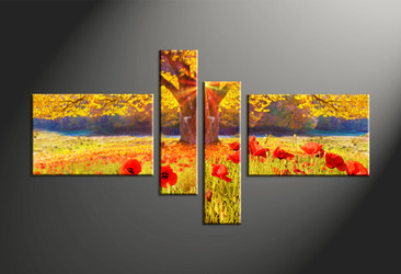 Home Decor, 4 piece canvas art prints, scenery multi panel art, scenery large canvas, flower art