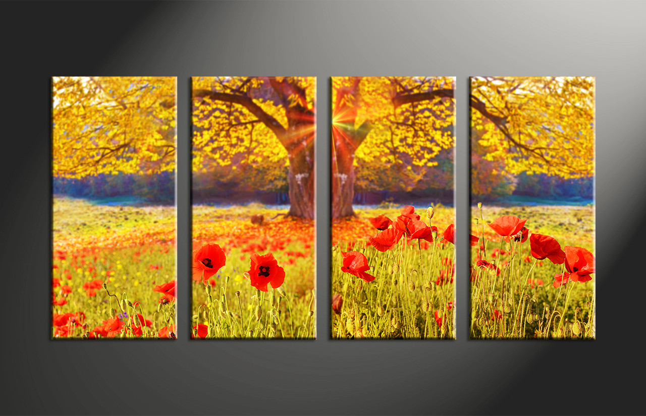 4 Piece Yellow Scenery Floral Group Canvas