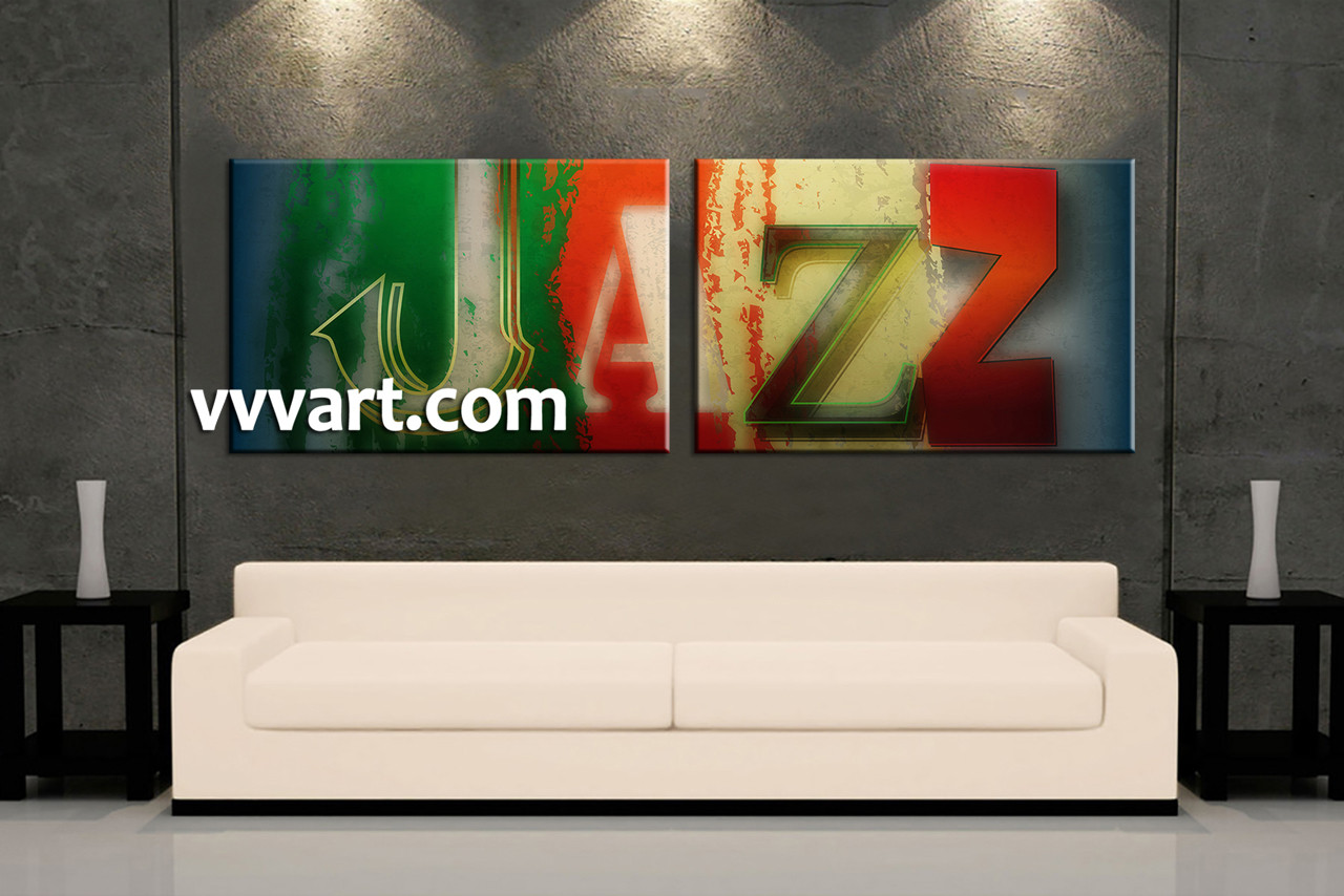 2 piece colorful jazz music canvas wall art for Living room jazz